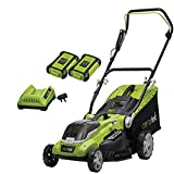 Aerotek 40V X2 Series Cordless Lawnmower, Lithium-Ion 2Ah x2 Batteries & Charger Included, Cutting...