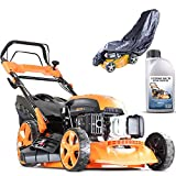 P1 Powered by Hyundai Petrol Lawnmowers Self Propelled Push Button Electric Start 21 Inch 51...