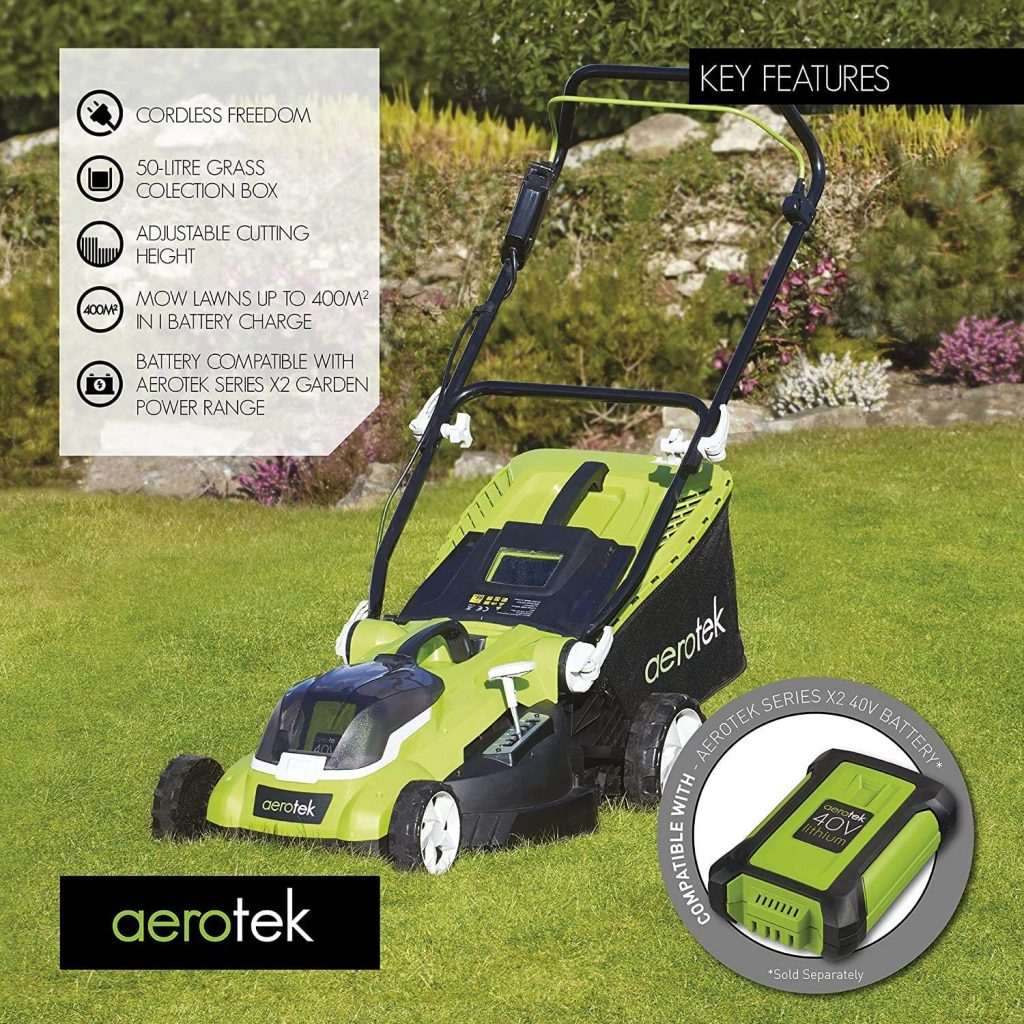 Aerotek 40V X2 Series Cordless Lawnmower spec and features
