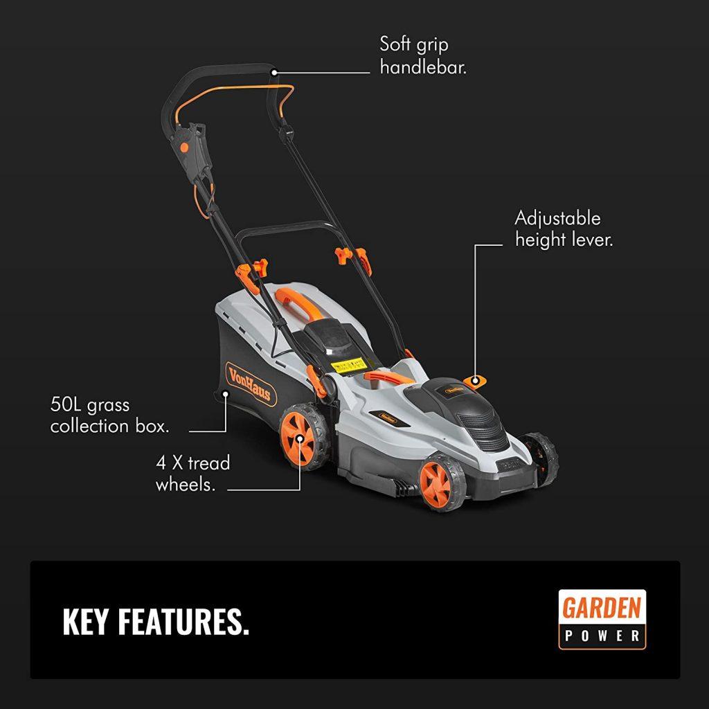 VonHaus Electric Rotary Lawnmower 1600W soec